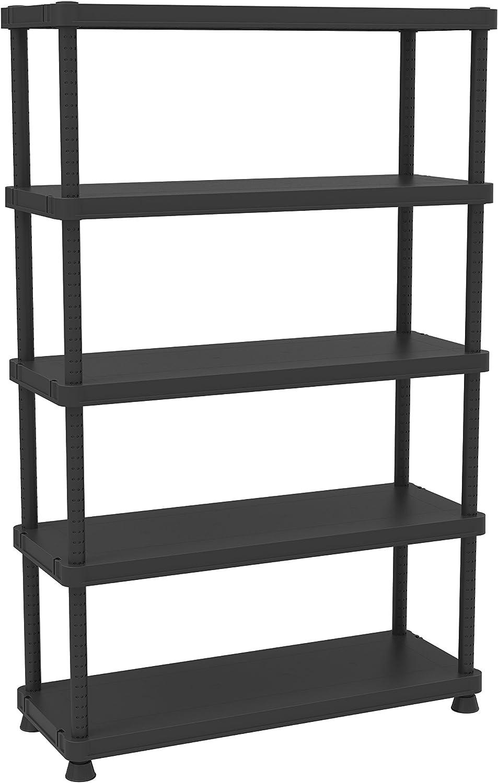 Terry, Scaffale 12045-5c, Estantería Modular con 5 Estantes. Color: Negro, Material: Plástico, Dimensiones: 120x45x187,5 cm