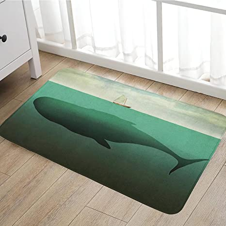 Fantasy Bath Mat Non Slip Surreal Giant Whale In The Middle Of Sea And  Little Sailboat