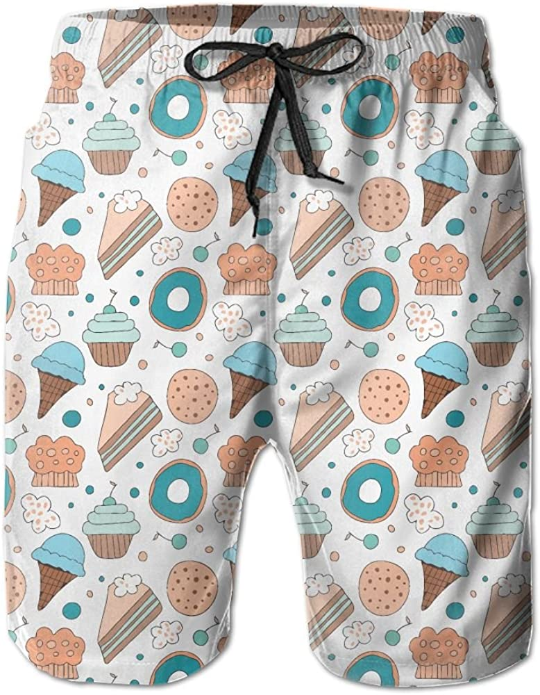 RZM YLY Mens Ice Cream Cake Biscuits Swim Trunks Quick-Dry Beach Shorts