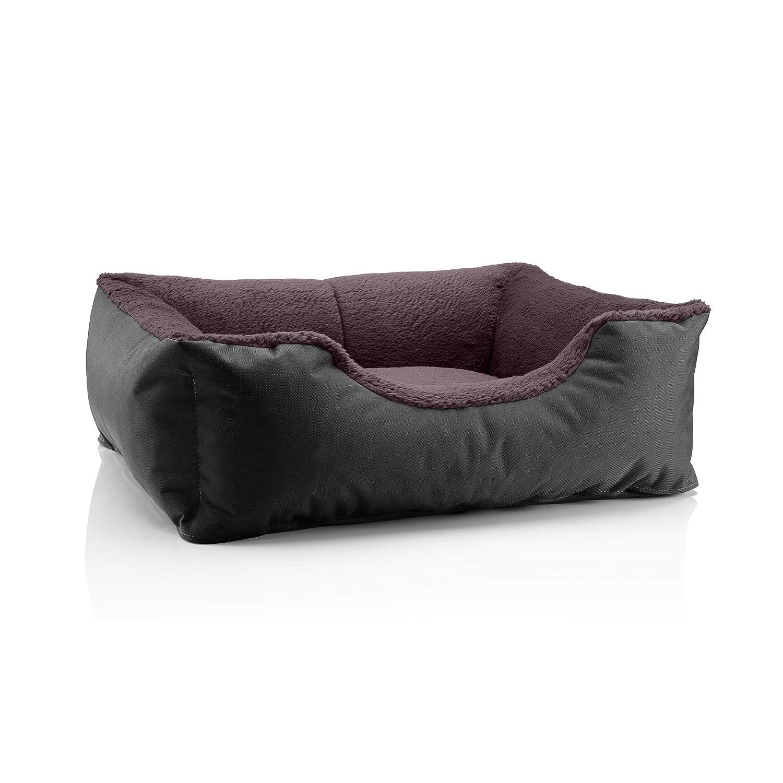 BLACKFIELD (black brown) S (ca. 55x40cm)BedDog dog cat sofa TEDDY S to XXXL, 14 colours to choose, made from Cordura & Microfiber Velor, washable dog bed, dog cushion, indoor & outdoor use, size XXXL, grey grey
