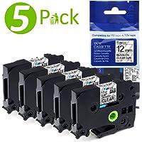 5x Ruban pour Etiqueteuse 12mm Compatible Brother P-touch TZe-131 TZe131 Laminé Ruban Cassettes, avec PT-H100LB PT-E100 PT-D400 PT-1250 PT-H110 PT-1000 PT-1010R, Noir sur Transparent