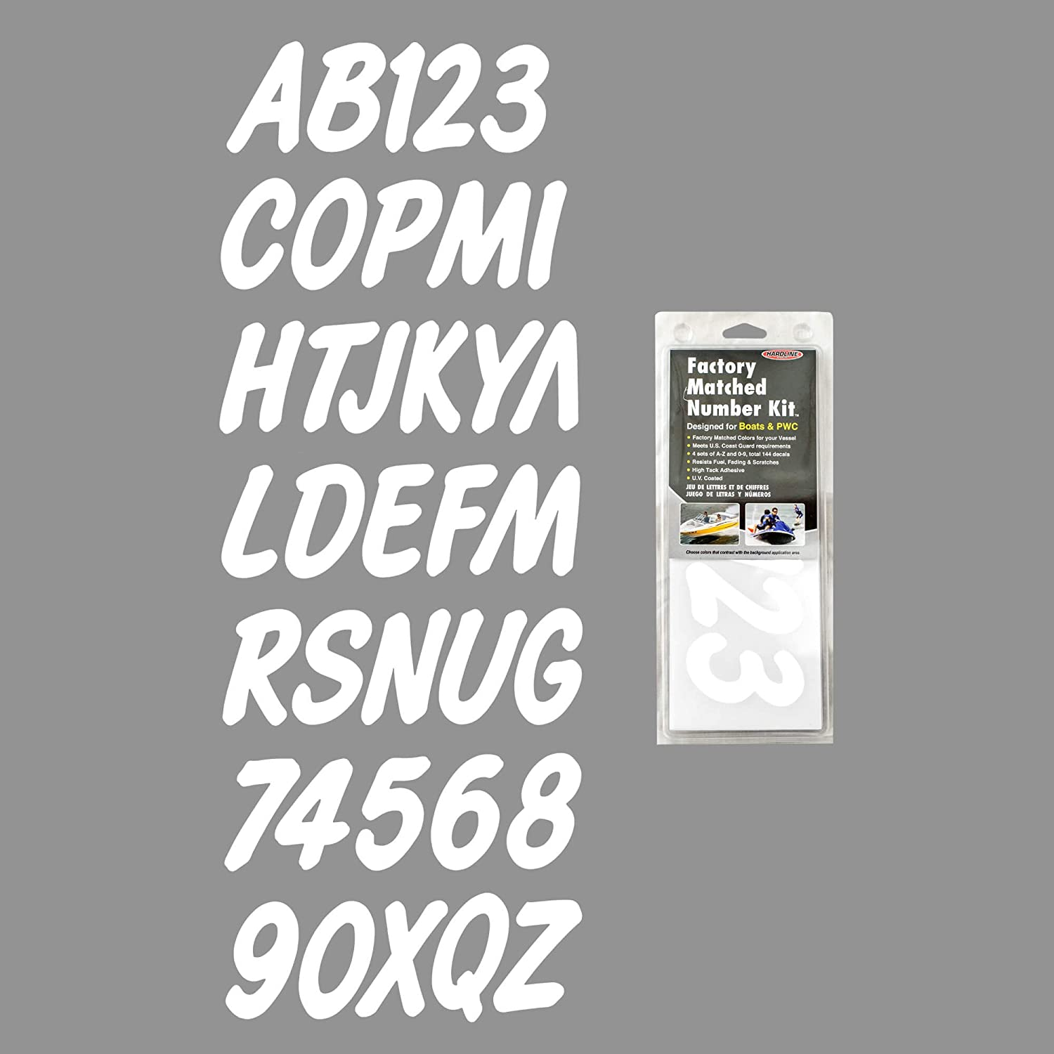 Hardline Products Series 400 Factory Matched 3-Inch Boat & PWC Registration Number Kit, Solid White