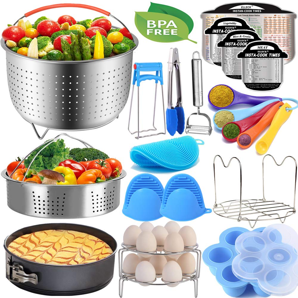Pressure Cooker Accessories Set Compatible with Instant Pot 5,6,8 QT, Steamer Basket, Springform Pan, Egg Rack, Egg Bites Mold, Cheat Sheet Magnets, Bowl Clip, Tong& Mitts and More/instapot accessory