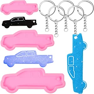 3 Pieces Keychain Silicone Mold with Hole Truck Car Shape Molds and 6 Pieces Key Rings for DIY Cupcake Cake Topper Decoration Fondant Candy Jelly Shots Ice Cream Desserts
