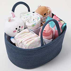 Cotton Rope Caddy with Removable Divider, Nursery Storage Organizer Blue Large