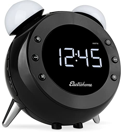 Dual Alarm Digital AM//FM Radio CR35 Electrohome Retro Alarm Clock Radio with Motion Activated Night Light and Snooze Wake-up Light Battery Backup Auto Time Set and Temperature Display Dimmer