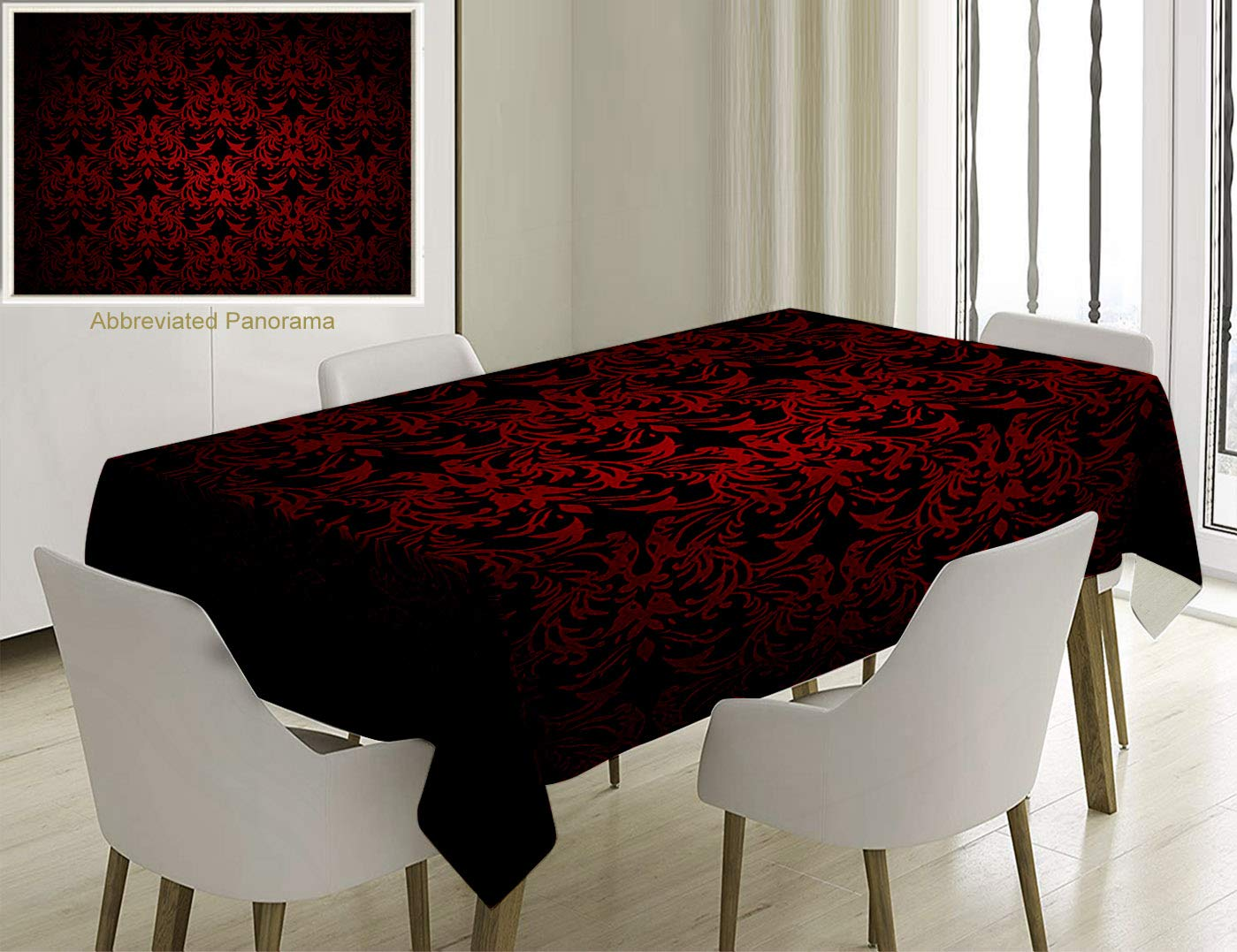 Unique Custom Cotton And Linen Blend Tablecloth Red And Black Victorian Antique Old European Design Floral Swirls And Leaves Ombre Image BurgundyTablecovers For Rectangle Tables, 60 x 40 Inches