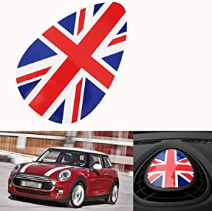 Xotic Tech 1 x Oval-Shaped Red Blue Union Jack UK Flag Pattern Dashboard Panel AC Air Vent Decor Vinyl Sticker Decal for Mini Cooper F55 F56