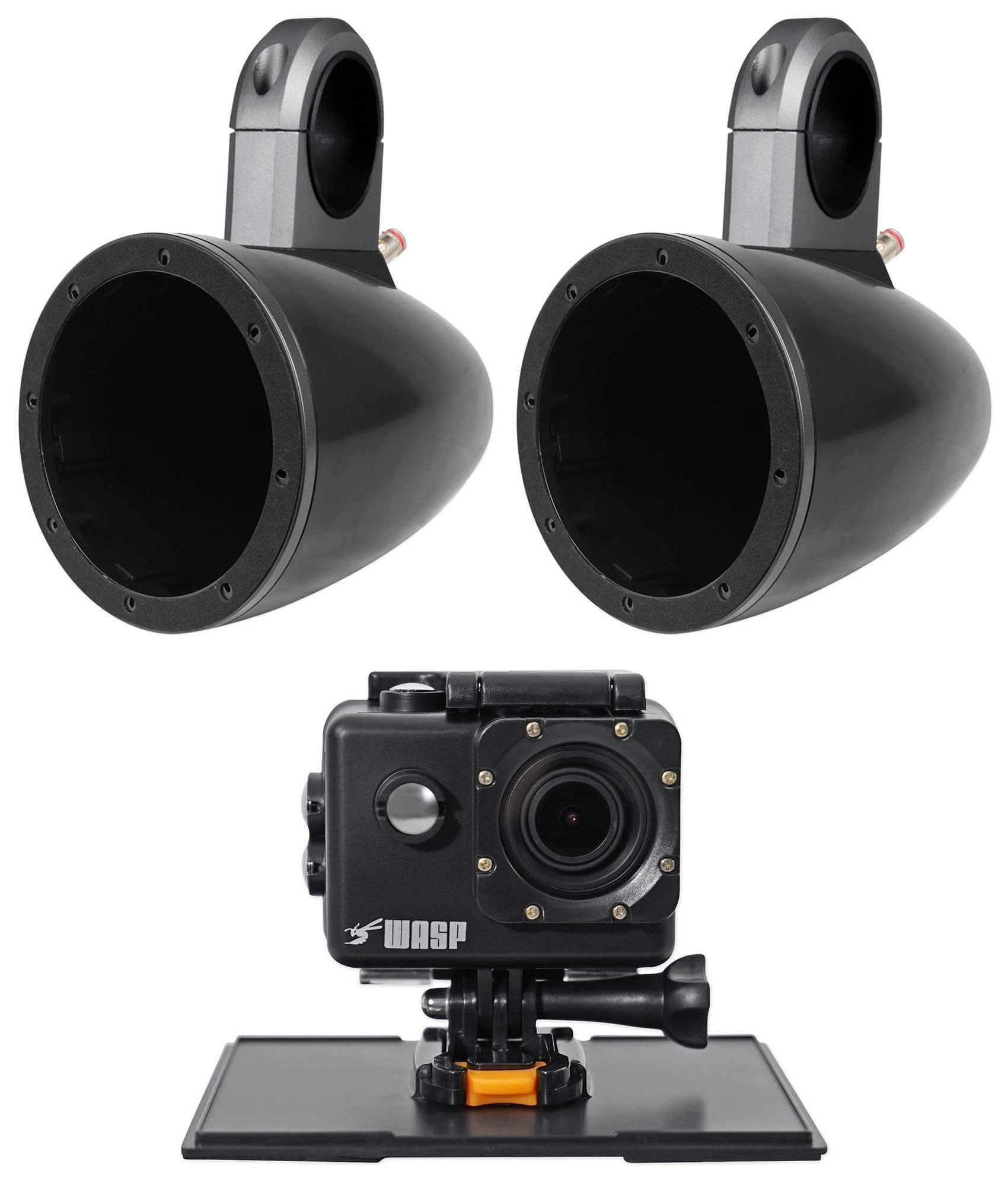 Pair Kicker KMTES Marine Wakeboard Tower Enclosures For 6''/6.5'' Speakers+Camera