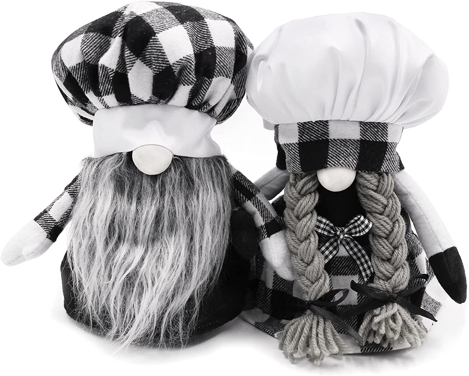 Kitchen Chef Gnomes Decorations Set Couples Gifts Farmhouse Home Decor Handmade Tomte Gnome Scandinavian Decor Plush Gifts for Couples Household Ornaments Set of 2