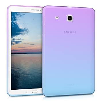 kwmobile TPU Silicone Case for Samsung Galaxy Tab E 9.6 T560 / T561 - Soft Flexible Shock Absorbent Protective Cover - Violet/Blue/Transparent