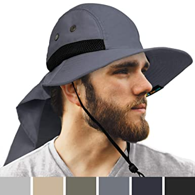 6b412dc0e SUN CUBE Fishing Hat for Men with Neck Cover Flap, Wide Brim Bill ...