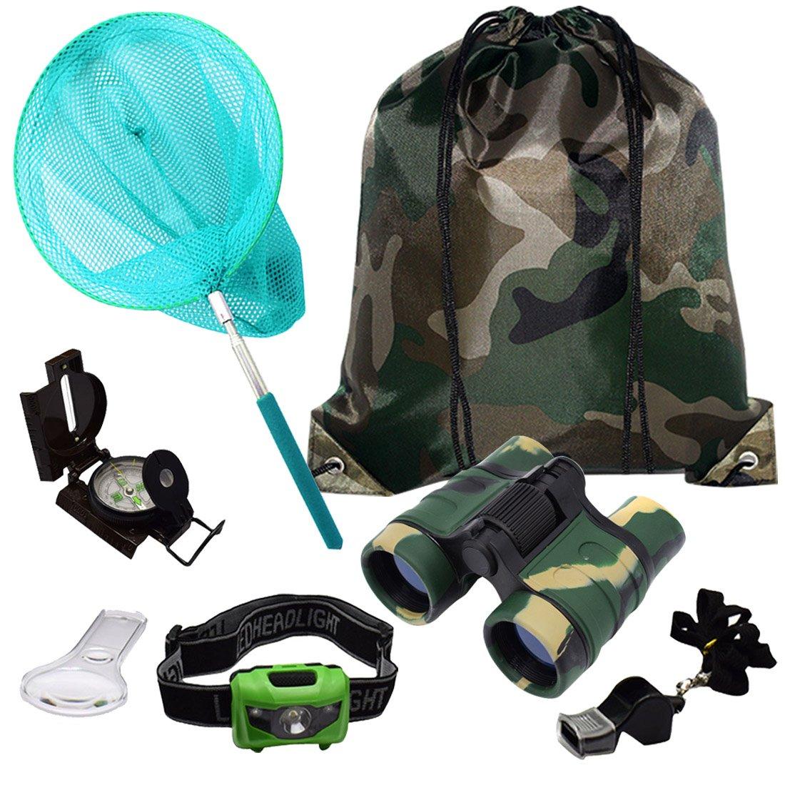 shaqmarsキッズアウトドアアドベンチャーセット:教育子供のおもちゃ双眼鏡、LEDヘッドランプ懐中電灯、コンパス、拡大鏡WhistleバタフライNet &バックパック(迷彩色) Great Kidzギフトセット B07CTHSJ5P