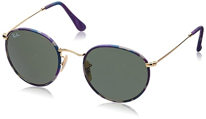 f5c0ab243c Amazon.com  Ray-Ban ROUND METAL (M) - CAMOFLAGE VIOLET BLUE Frame GREEN  Lenses 50mm Non-Polarized  Ray-Ban  Clothing