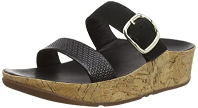 f1cbac853 FitFlop Womens Stack Leather Black Slide - 11