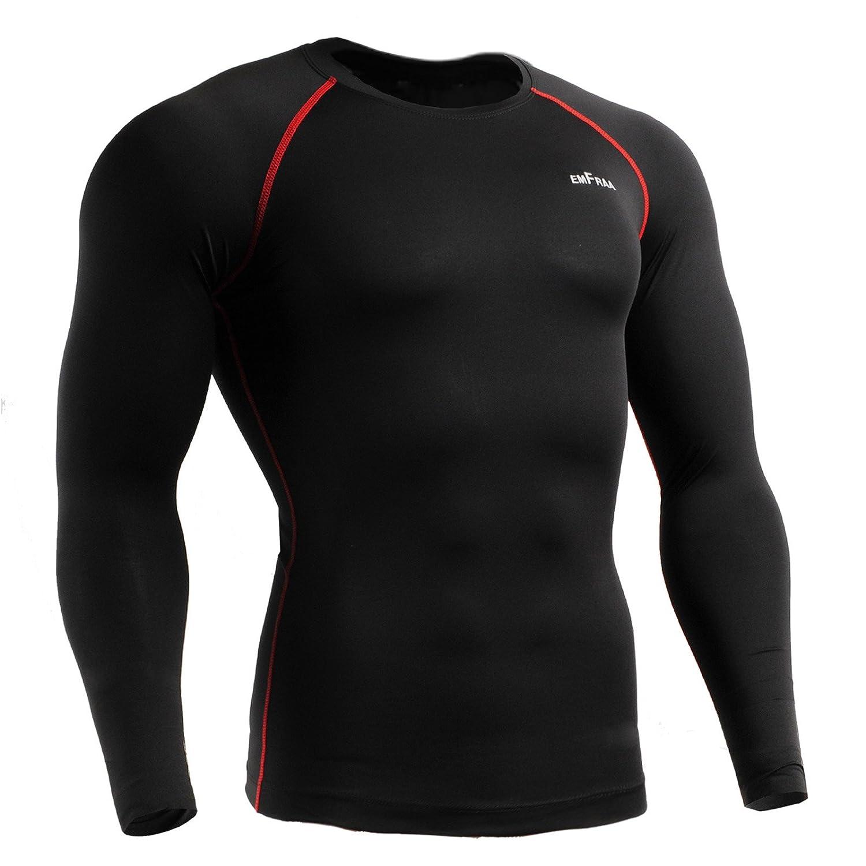emFraa Men Women Skin Tight Baselayer T Shirt Running Black Top Longsleeve S