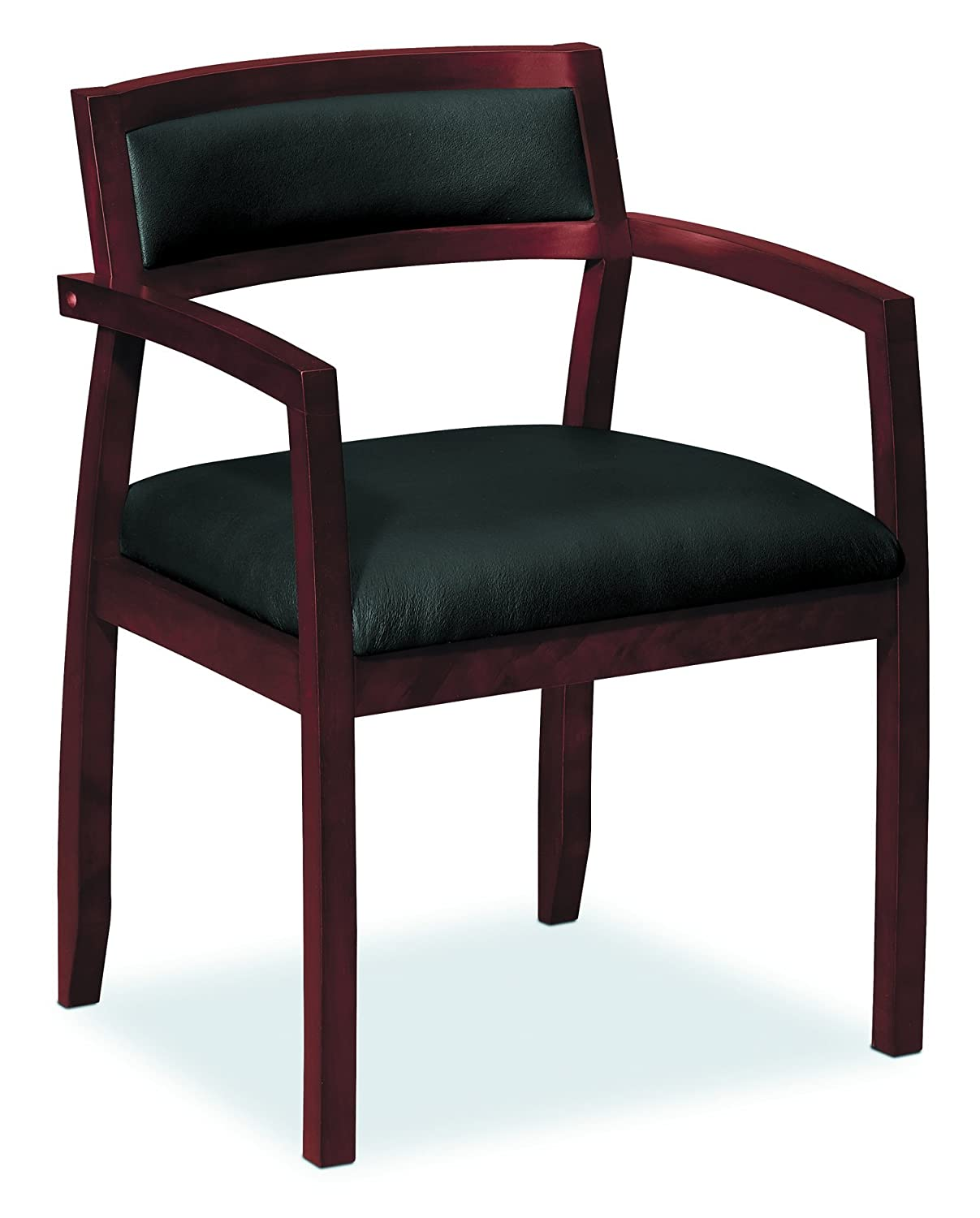 Basyx VL852NST11 Wood Guest Chairs w/Black Leather Seat/Upholstered Back, Mahogany Finish United Stationers HVL852.N.SB11