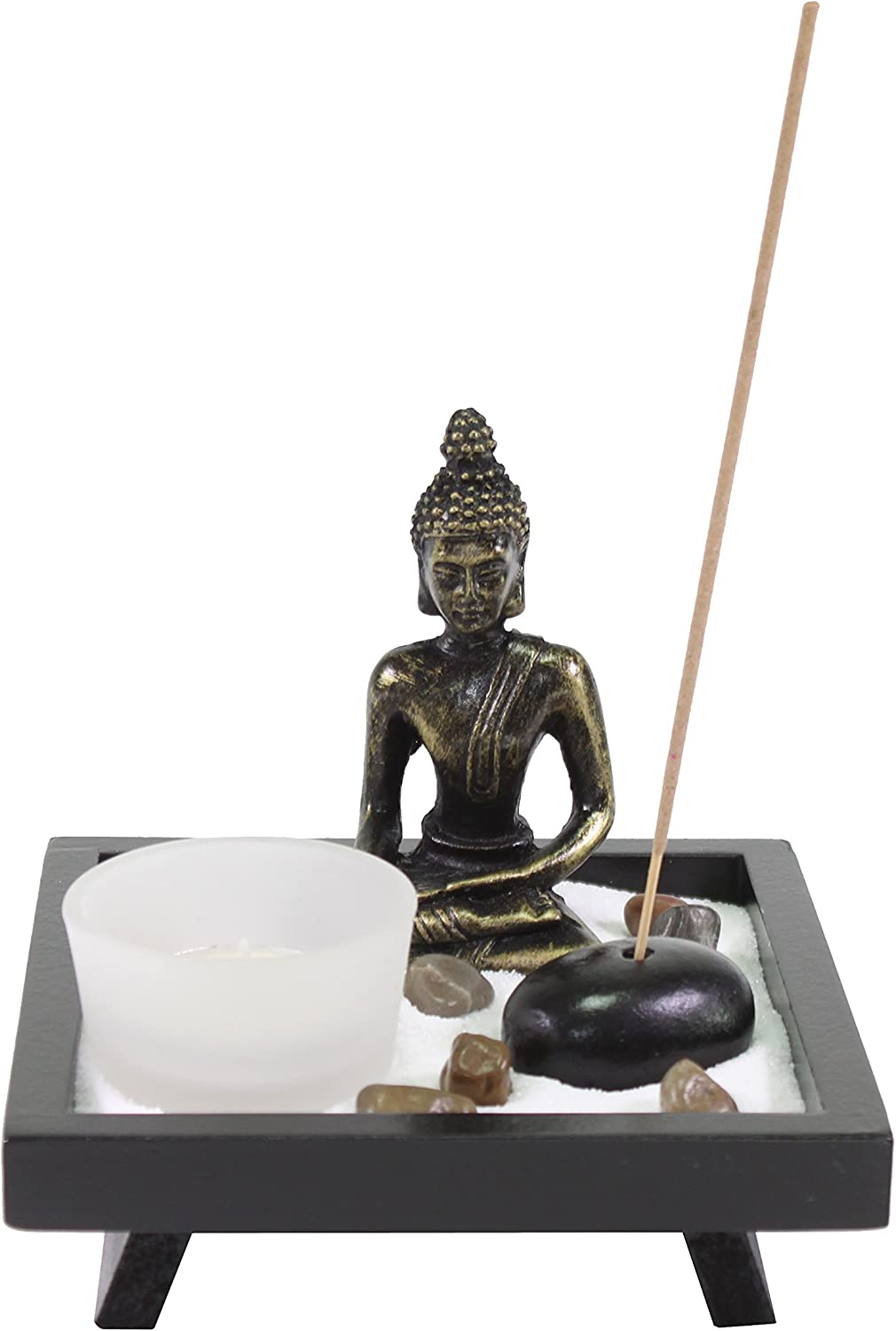 Tabletop Buddha Zen Garden with Sand Rock Candle Holder Incense Burner Gift & Home Decor