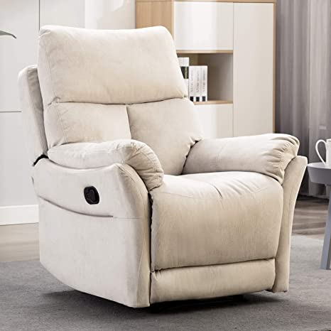 Fine Anj Manual Recliner Living Room Reclining Chair Soft With Overstuffed Armrest And Back Beige Pdpeps Interior Chair Design Pdpepsorg