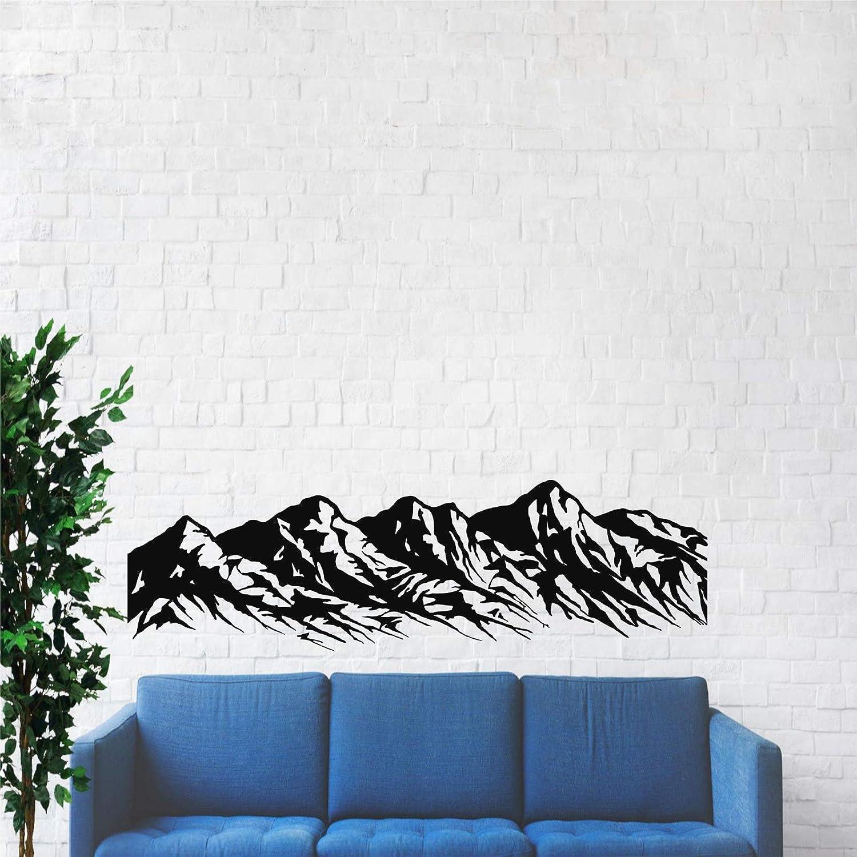 "Metal Wall Art - Metal Mountain Range - 3D Wall Silhouette Metal Wall Decor Office Decoration Living Room Decor Metal Sculpture (Black, 47""W x 13""H / 118x32 cm)"