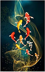 """Liuqidong Canvas Painting Chinese Style Red Koi Lucky Carp Nordic Goldfish Poster Home Decor Picture Annual Ring Wall Art 15.7""""x31.4""""(40x80cm) No Frame"""