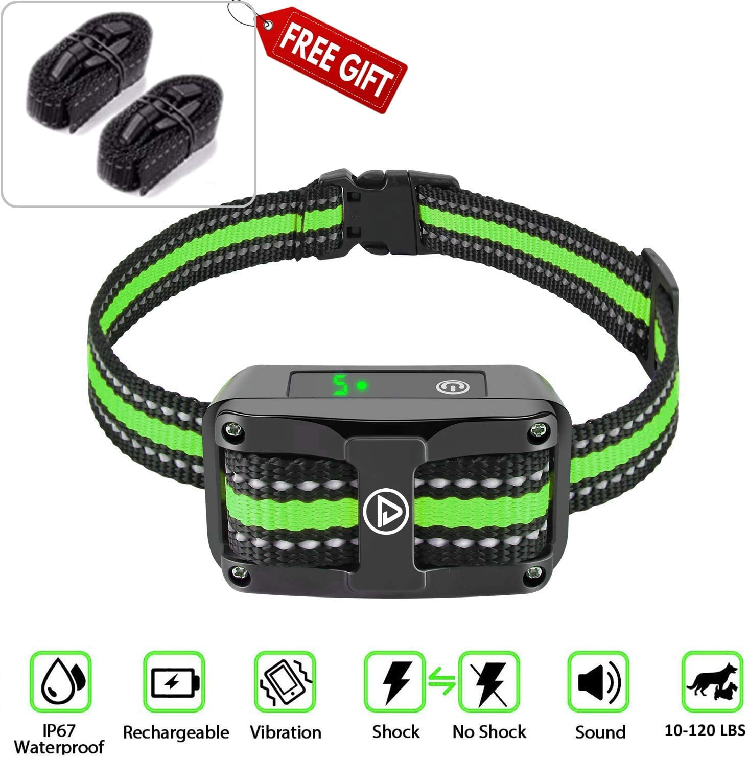 TrendHolders Automatic Bark Collar – Shock Collar for Dogs Rechargeable Best Barking Collar with Vibration Anti Barking Device for Small Medium Large Dogs