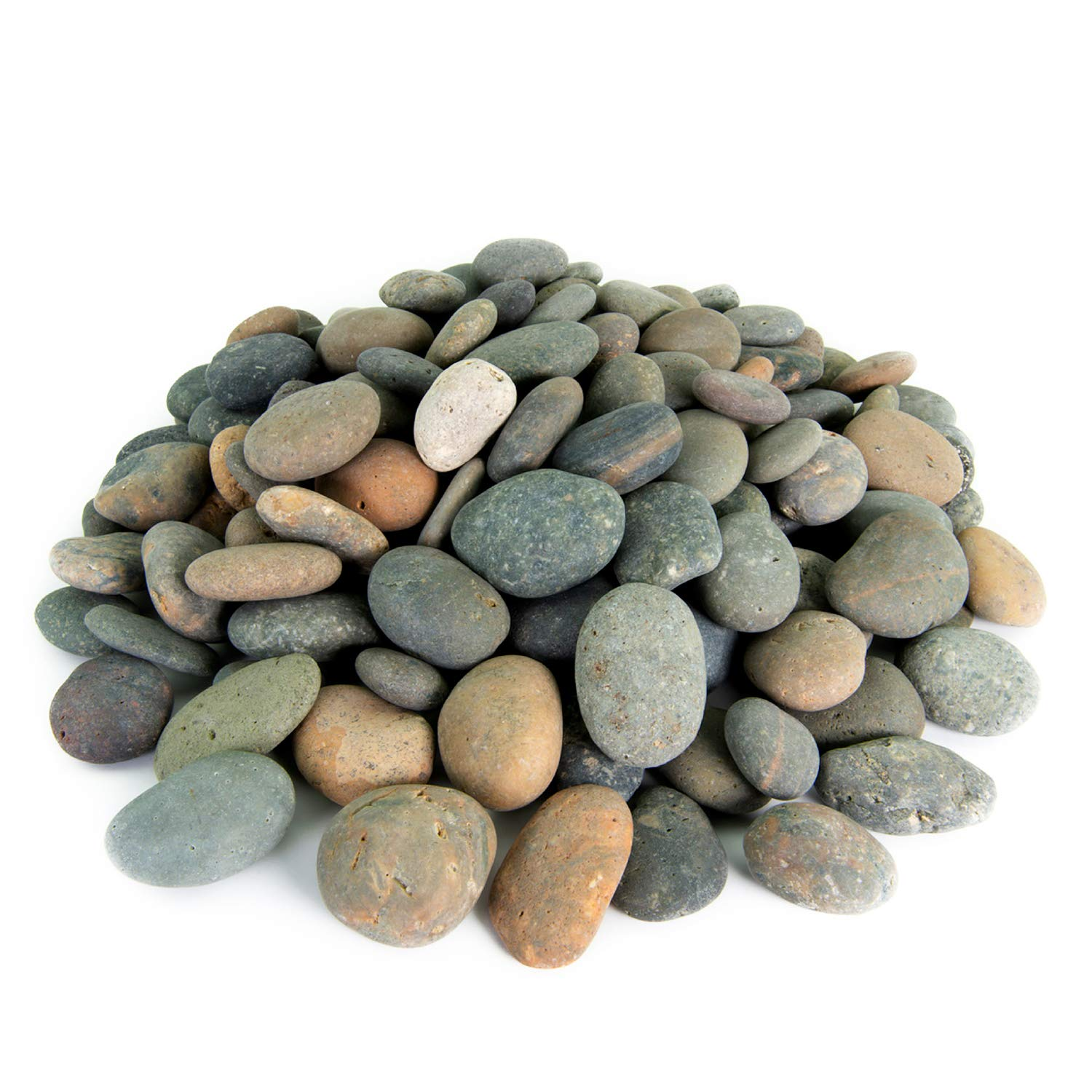 Mexican Beach Pebbles | 20 Pounds of Smooth Unpolished Stones | Hand-Picked, Premium Pebbles for Garden and Landscape Design | Mixed, 2 Inch - 3 Inch