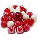 """Unique & Custom {5/8"""" Inch} Set Of 25 """"Round"""" Opaque Marbles Made of Glass for Filling Vases, Games & Decor w/ Artistic Iridescent Fun Shiny Elegant Design [Red & White Colors] w/ 1 Shooter"""