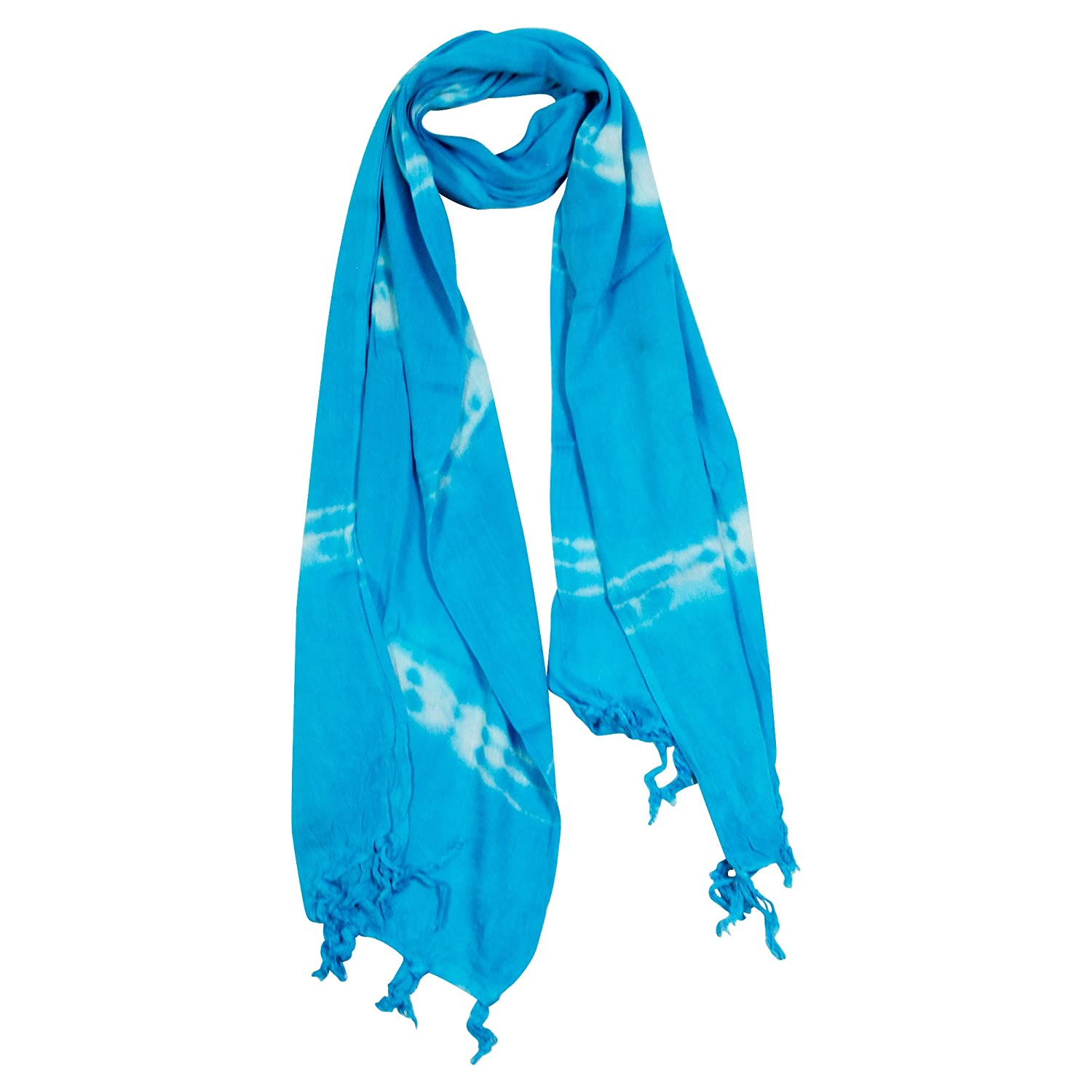 80d3f5726d05 Light Blue and White Tie-dye Rectangle Women's Hijab Scarf with Tassles at  Amazon Women's Clothing store: