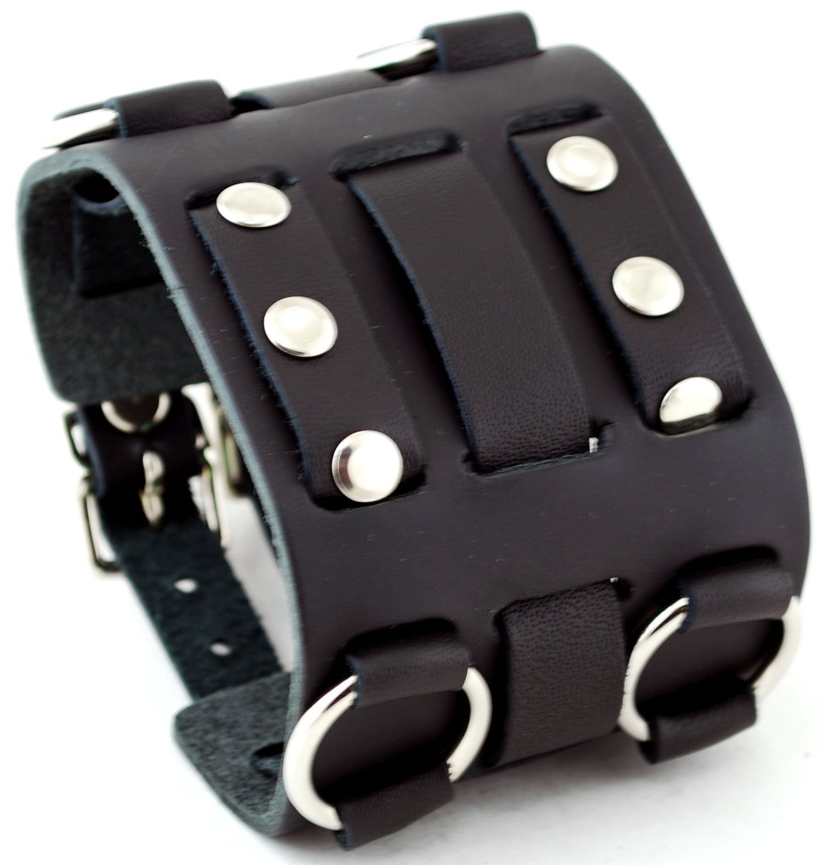 RoseCo Wide Black Leather Tri Clasp Cuff Wrist Watch Band