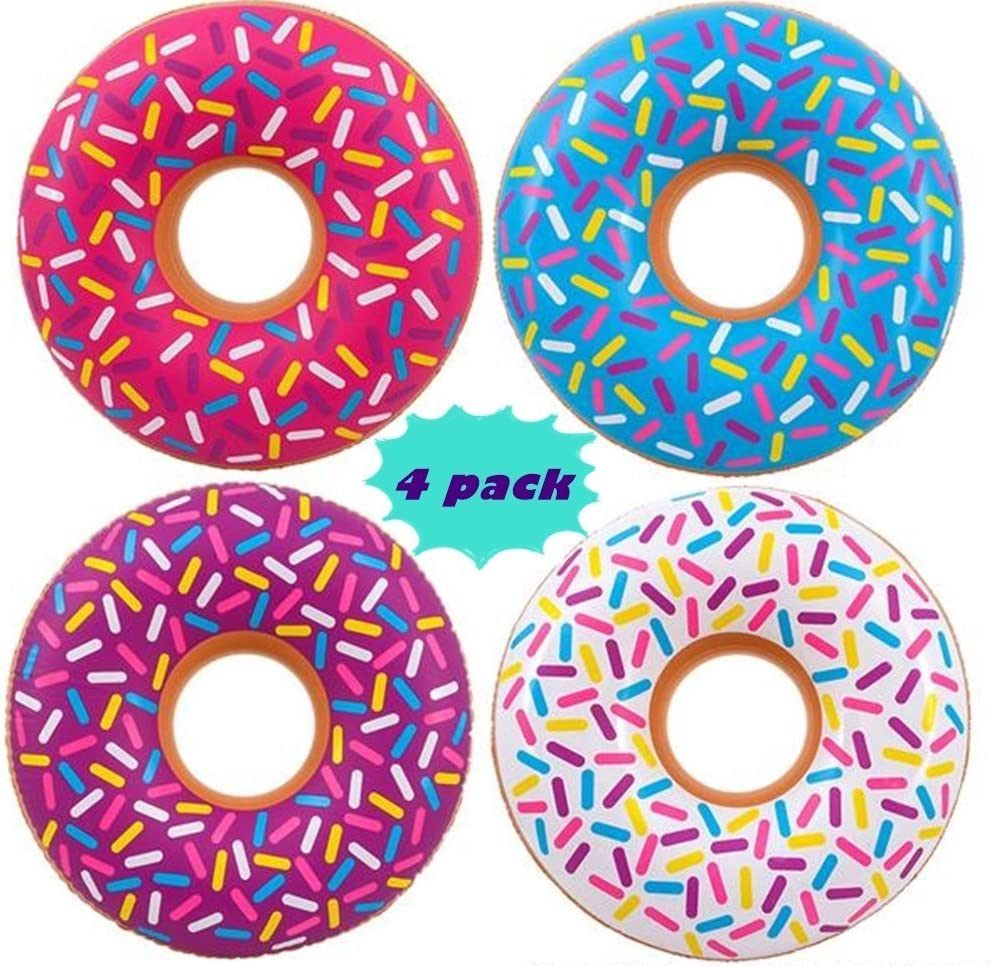 4E's Novelty Mini Pool Floats for Kids Ages 3-6 [4 Assorted Pack] Small Donuts Swim Tubes - 22 Inches - for Pool Party Decorations, Donut Birthday Party Decorations, Donuts Party Decorations