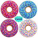 4 DONUTS Swim tubes, INFLATABLE DONUTS - 22 inch - Pool party floats and donuts party decorations, Assorted Colors By 4E's Novelty,