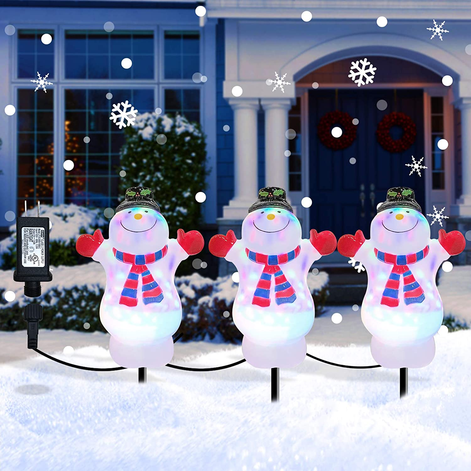 Christmas Decorations Snowman Pathway Light Outdoor, Waterproof Landscape Path Lights Decor 3 in 1 Outdoor Stake Decoration for Patio, Yard, Garden, Lawn Decoration