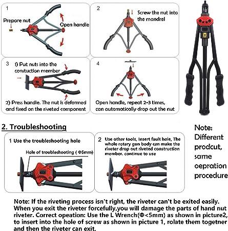 """Hand Nut Riveter 440mm 17/"""" Rivet Gun Kit Rivnut Thread Setting Tool Nut Setter N"""