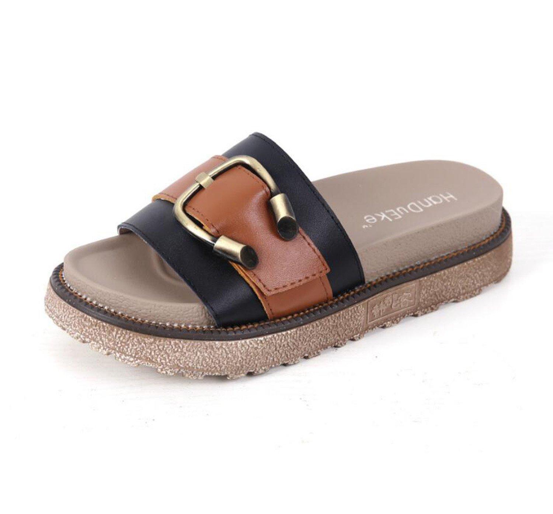 Frauen Hausschuhe Sommermode Außerhalb Shopping Sandalen Metallschnalle Sandalen Mädchen Outdoor Comfort Schuhe (Weiß Schwarz 34-43) ( Color : Black , Größe : 41 )  41|Black