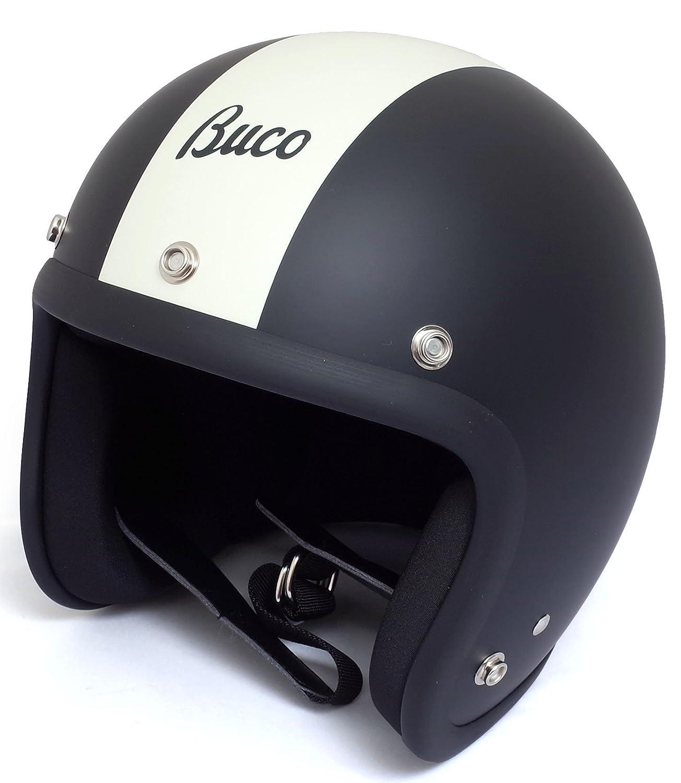 BUCO EXTRA BUCO 70's スタイル センターストライプ モデル ジェットヘルメット B07CWSSG5H XL|マットブラック/マットホワイト マットブラック/マットホワイト XL