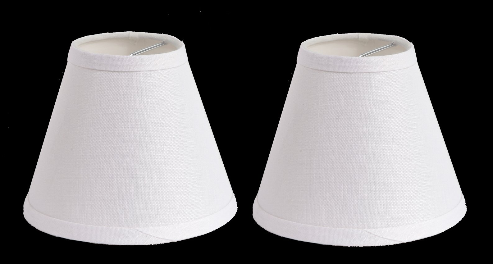 Urbanest 100% Linen Chandelier Lamp Shades, 6-inch, Hardback Clip On, White(set of 2)