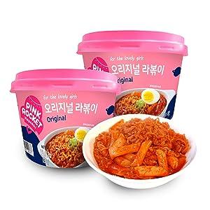 Instant Tteokbokki Pink Rocket Korean Rice Cake with Ramen Noodle, Rabokki, Pack of 2 (Original) (Original)