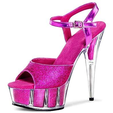 a5a726f4edbb Bold Hot Pink Glitter Platform Heels with 6 Inch Glitter Filled Stilettos  Size  5