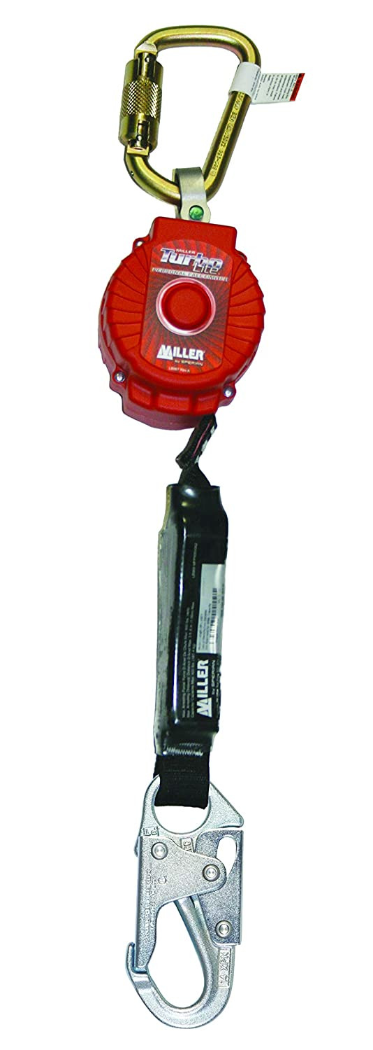 Miller TurboLite 6-Foot Personal Fall Limiter with Unit End Steel Carabiner & Lanyard End Steel Locking Snap Hook (MFL-1-Z7/6FT) - Fall Arrest Safety Clips -
