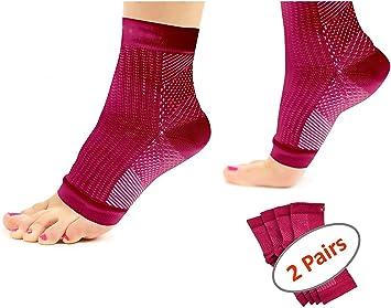 Acelec calcetines Ultimate/tobilleras para fascitis Plantar, para dolor en el talón, regalo Ideal para corredores de Running y ciclismo, escalada, etc. (2 pares de calcetines de compresión por paquete), rojo: Amazon.es: Deportes