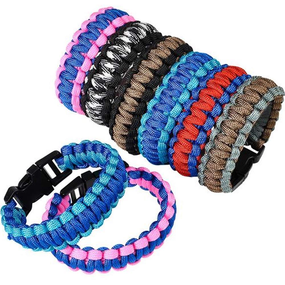 ArtCreativity Paracord Buckle Bracelets - Pack of 12 - Two Tone Color Scheme Bracelets - 9 Inch Cobra Bracelets - Fashionable Party Favor and Carnival Prize
