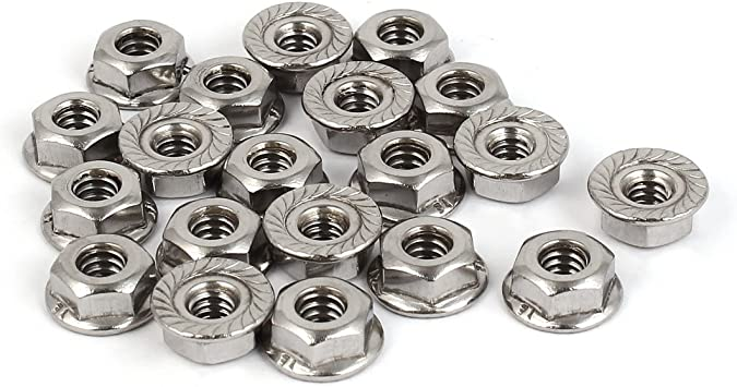 304 Stainless Steel 20 Pcs uxcell #10-24 Serrated Flange Hex Lock Nuts