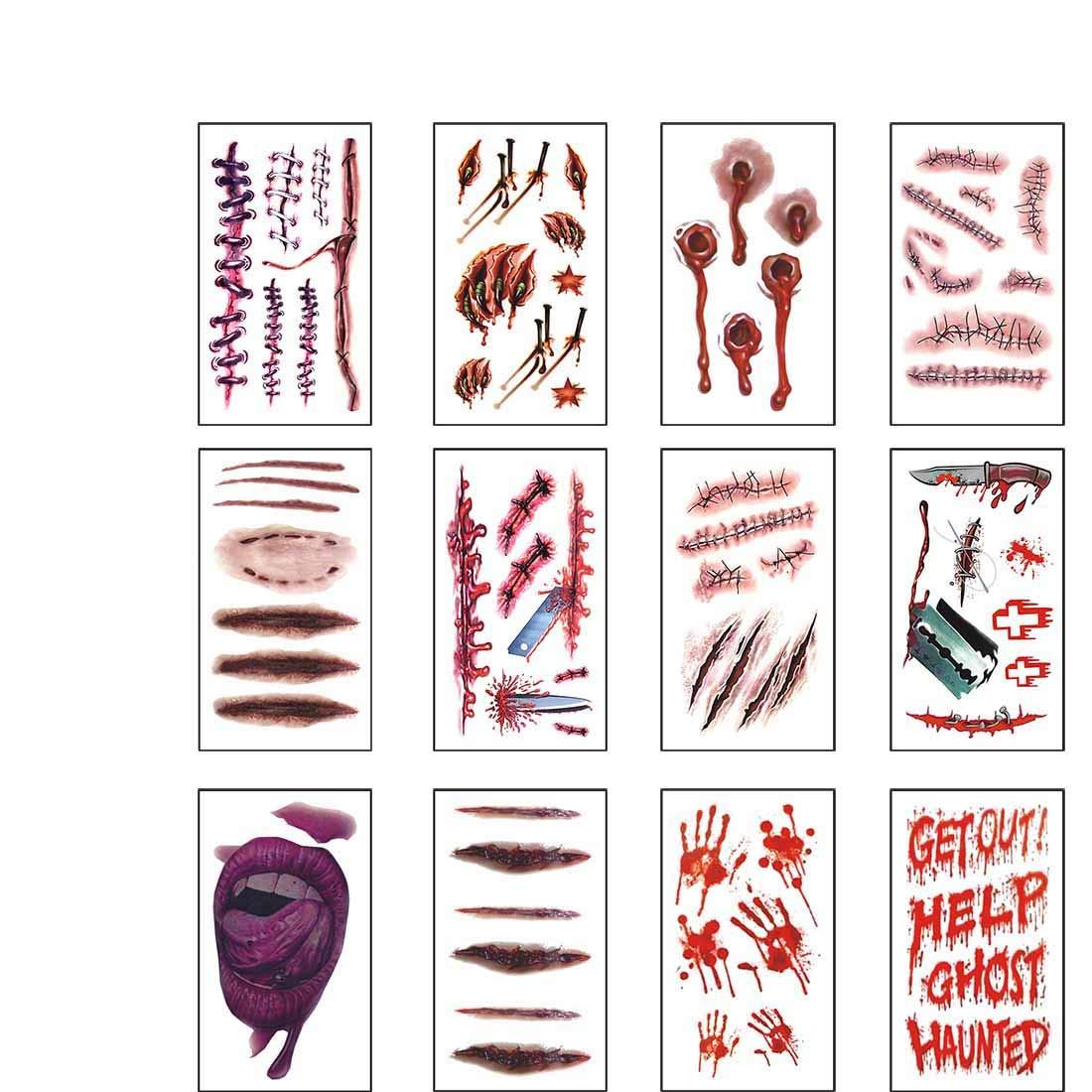 12 fogli Halloween Tatuaggi Temporanei, Zombie Cicatrici tagli ferite Tatuaggio Finto Eiito