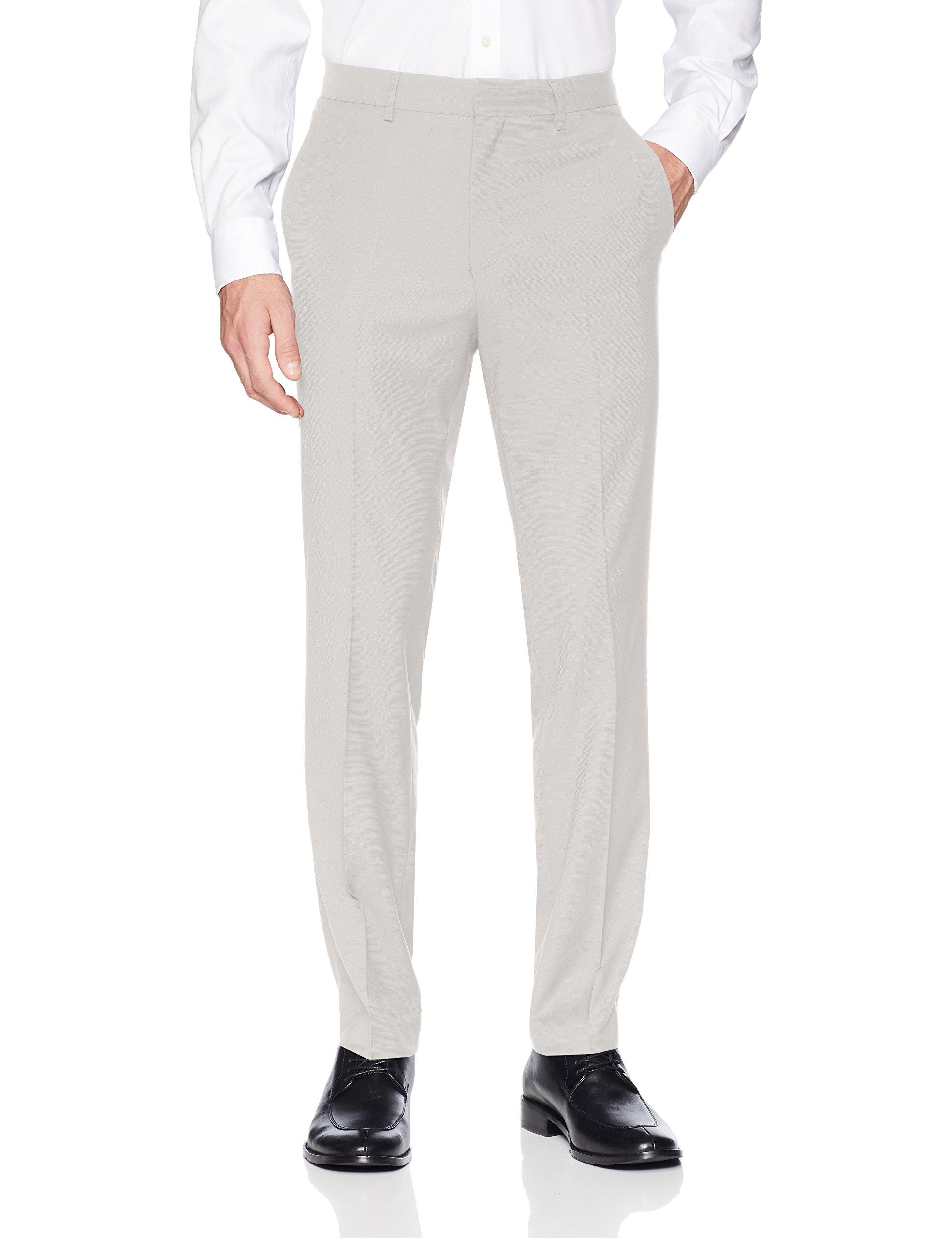 Kenneth Cole REACTION Men's Techni-Cole Stretch Slim Fit Suit Separate Pant (Blazer,  and Vest), Light Grey Basketweave, 34x32 by Kenneth Cole REACTION