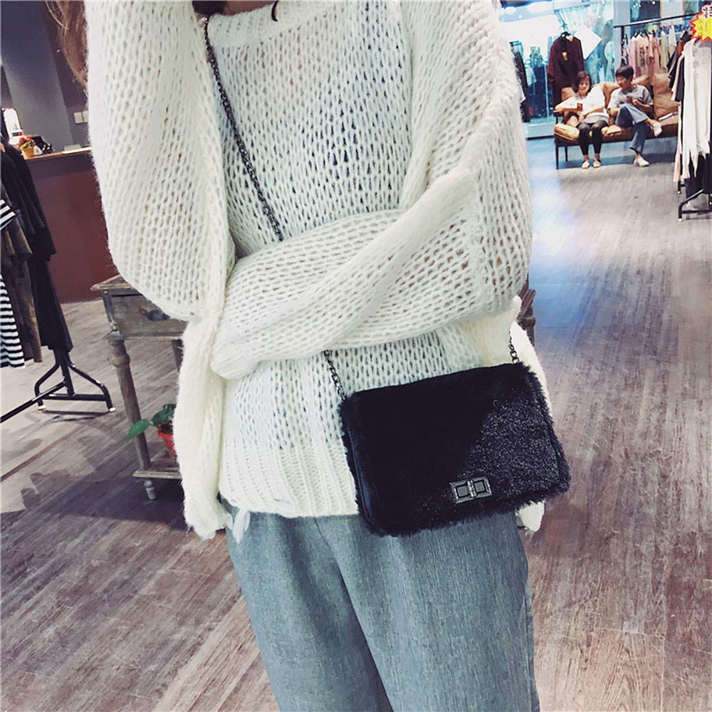 Amazon.com: Womens Soft Faux Fur Shoulder Bag Plush Crossbody Tote Handbag Chain Buckle Bag: Shoes
