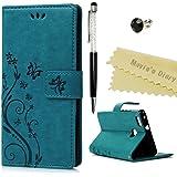 Huawei P9 lite/P9 lite premiumケース Mavis's Diary 横置き 耐久性 保護ケース 吸着の機能 スタンド 手帳型 PUレザー素材 胡蝶 ブルー