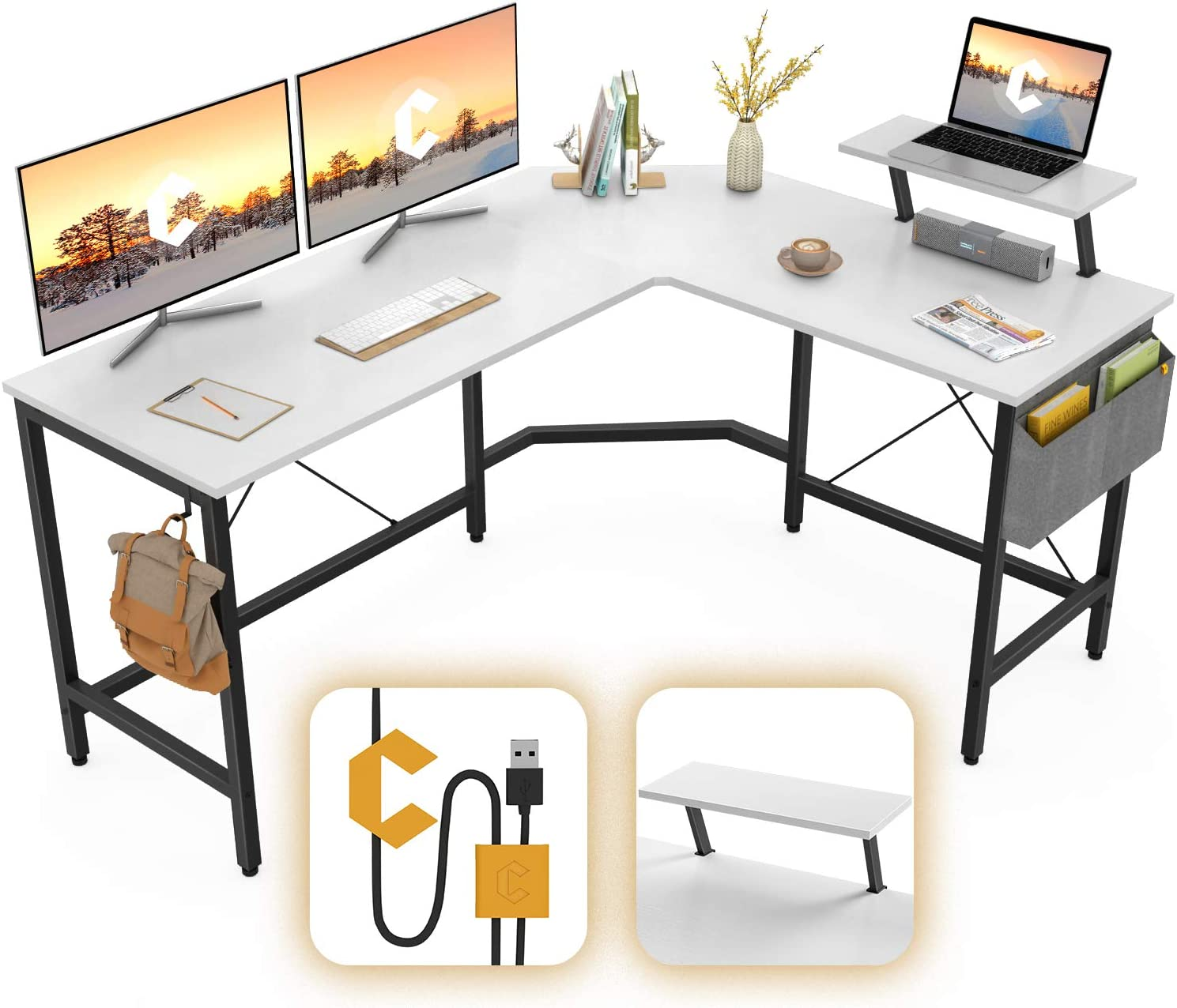 Cubiker Modern L-Shaped Computer Office Desk, Corner Gaming Desk with Monitor Stand, Home Study Writing Table Workstation for Small Spaces, White: Kitchen & Dining