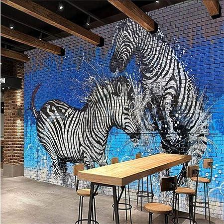 Zyyaky Wallpaper Mural Graffiti Brick Wall Zebra Mural Background