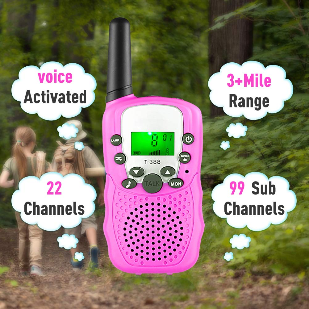 Gifts for 3-12 Year Old Girls, Kids Walkie Talkies 22 Channels 2 Way Radio 3 Miles Range Toys for 4-9 Year Old Girls Boys Outdoor Adventures Hiking Camping (Pink, 2 Pack) by Hotdor (Image #2)